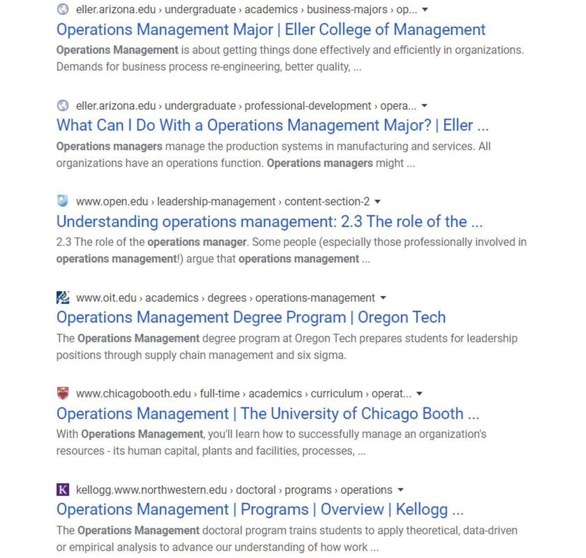 Here the Google site command is used to find all relevant results that can be found on the web sites of educational institutions for the search term operations management.
