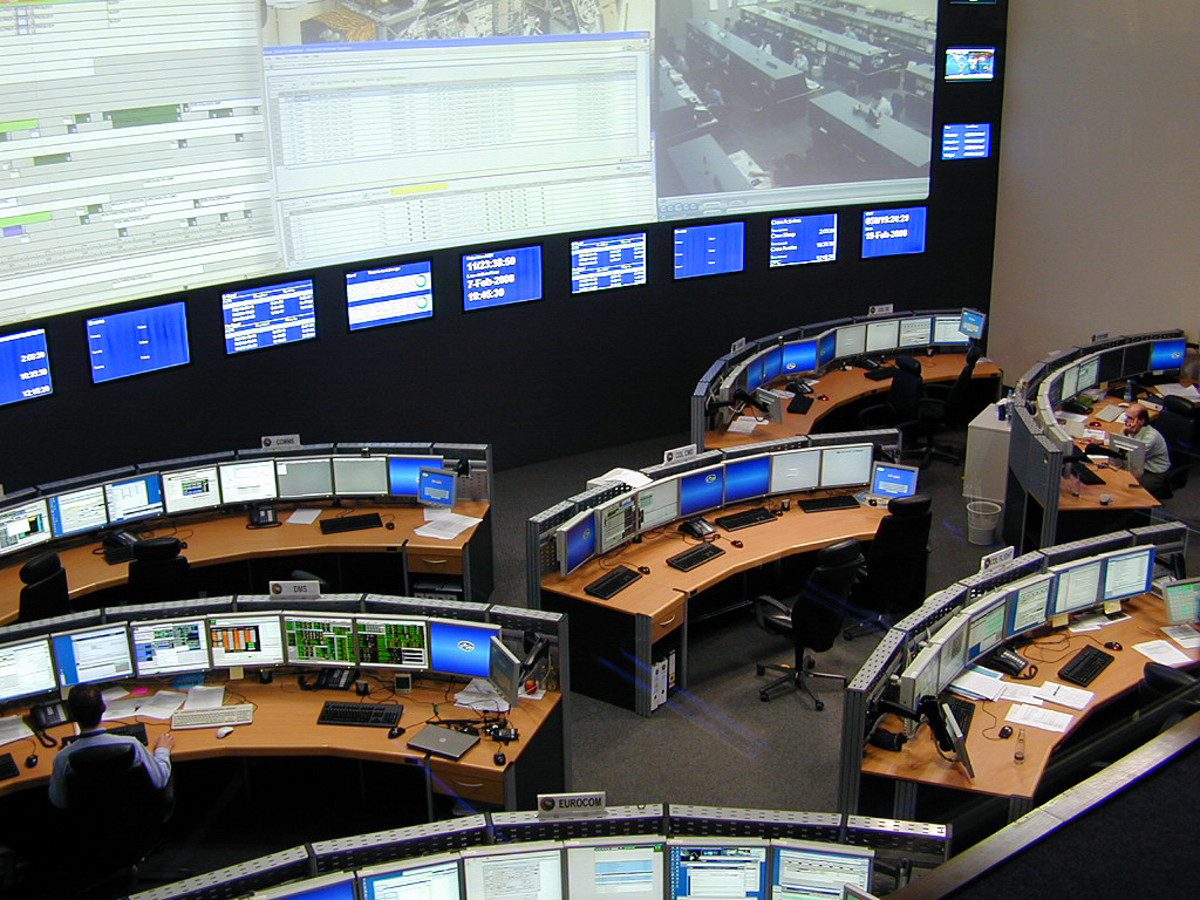 Inside the German Space Operations Center, in Oberfaffenhofen, near Munich