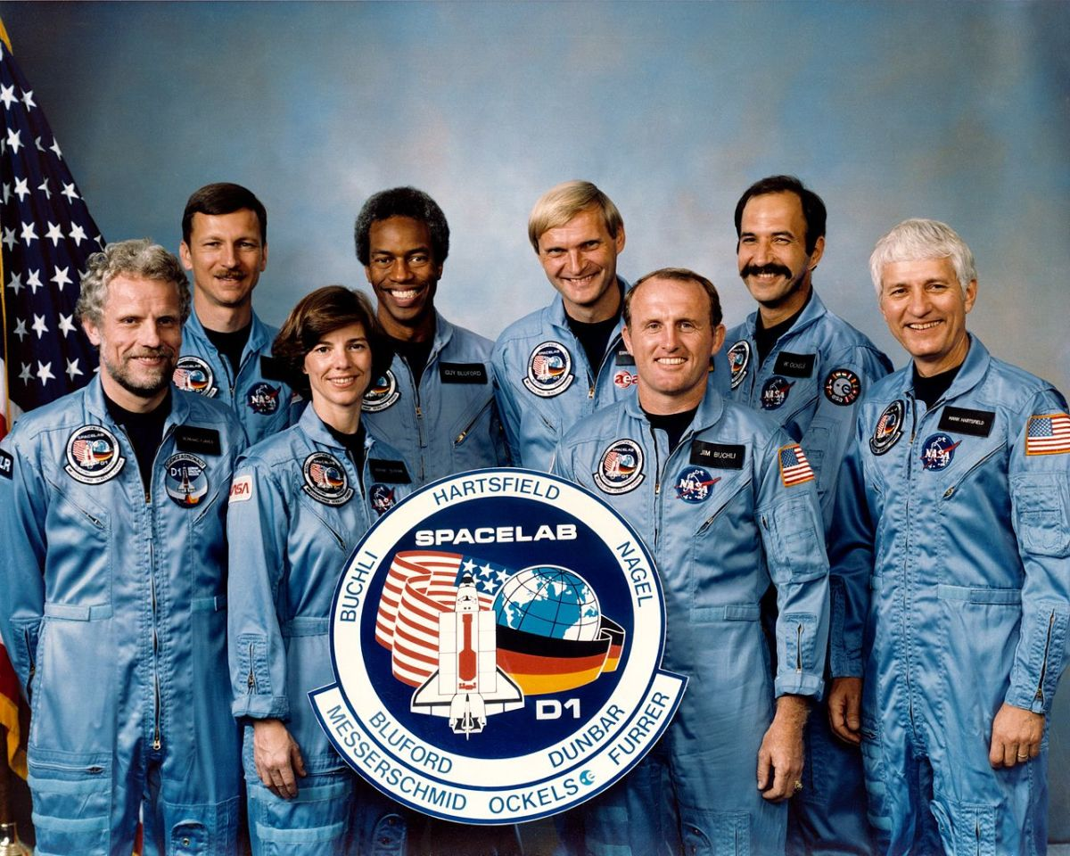 History's largest ever astronaut crew, featuring both NASA astronauts, as well as two physicists from West Germany and one from the Netherlands