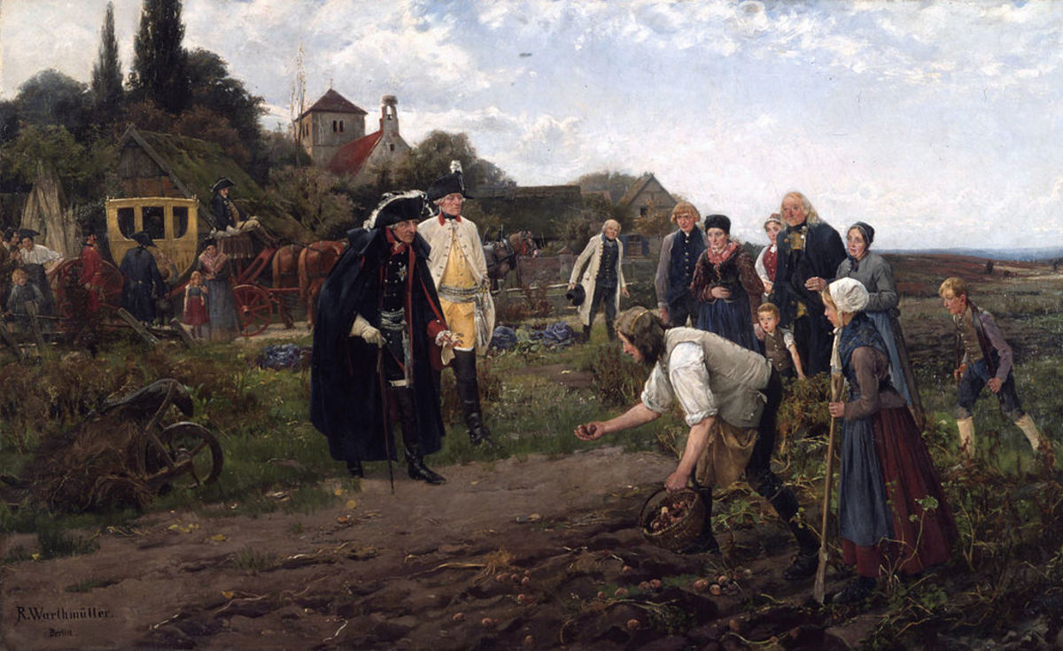 King Frederick the Great of Prussia, an enthusiastic supporter of potato farming, inspects a crop.