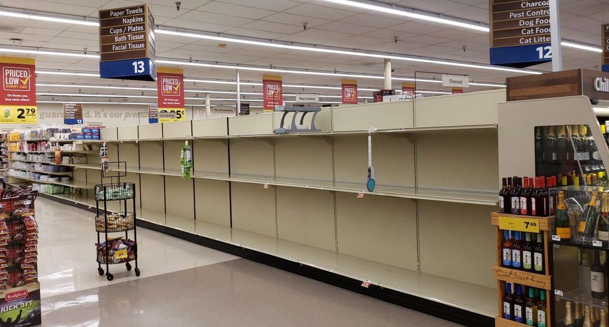There is literally no reason to buy up a lot of basic supplies, like toilet paper, beyond that which is necessary to survive the next ~week or so (per usual). This is what panic looks like. Please remain calm and do not panic.