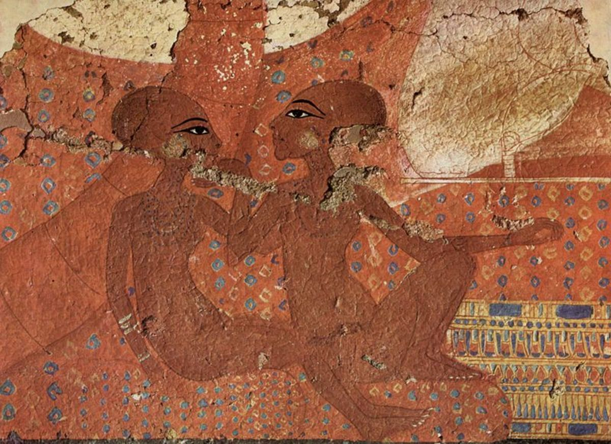 Neferneferuaten and Neferneferure - wall fresco from Amarna
