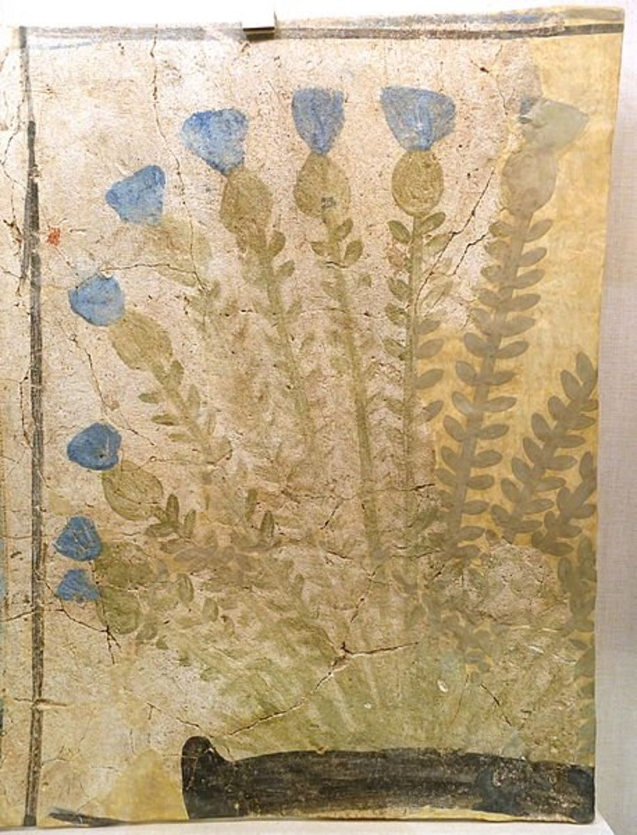 Fragment of Painted Floor from Amarna - Cornflowers