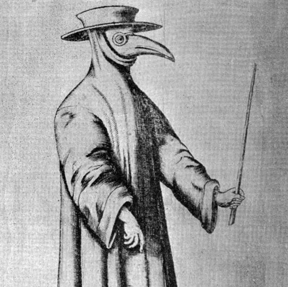 Plague doctors wore the bird beak mask to protect them from the bad smell of the dead. It was first believed that the smell caused the disease unfortunately the mask did not save the doctors.