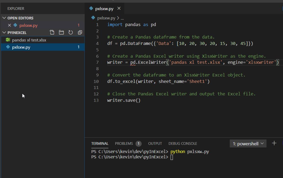 Fig 4: Pandas script in VS Code