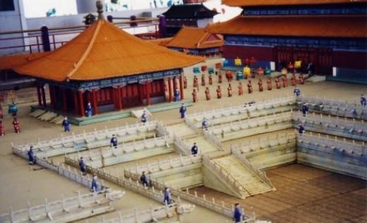 Scaled models of the Forbidden City in China with people