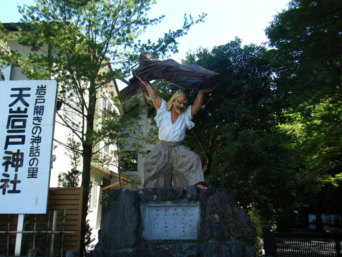 Statue of Ame-no-Tajikarao at Takachiho, where the Amano Iwato is said to be.