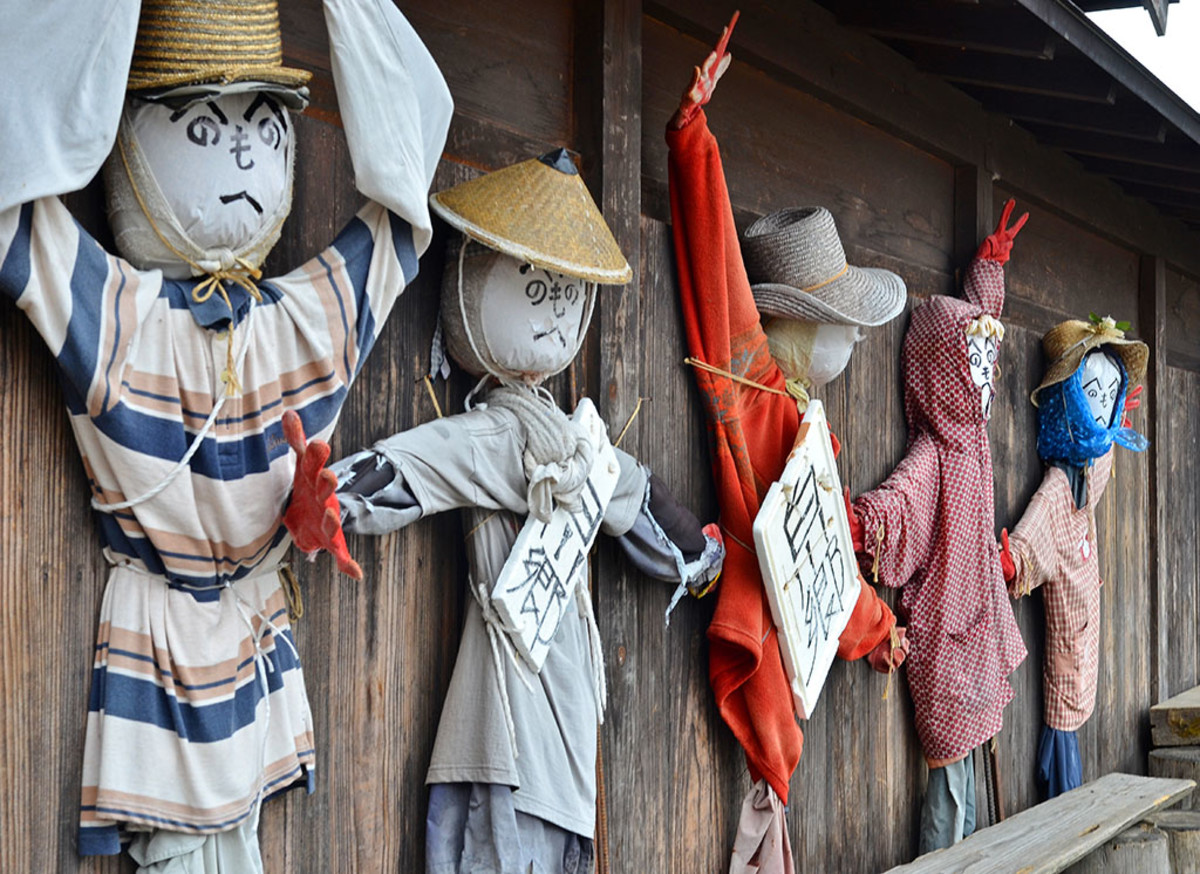 Traditional Japanese scarecrows.