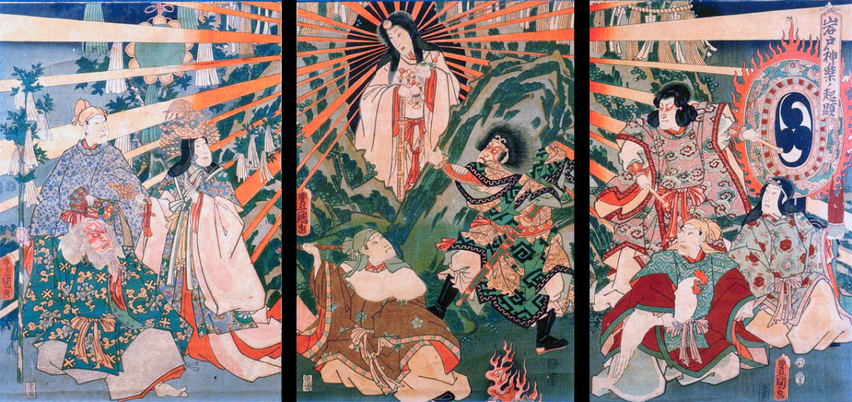 The saga at Amano Iwato is arguably the most important Shinto creation myth. Many Shinto gods and goddesses were first named in this legend.