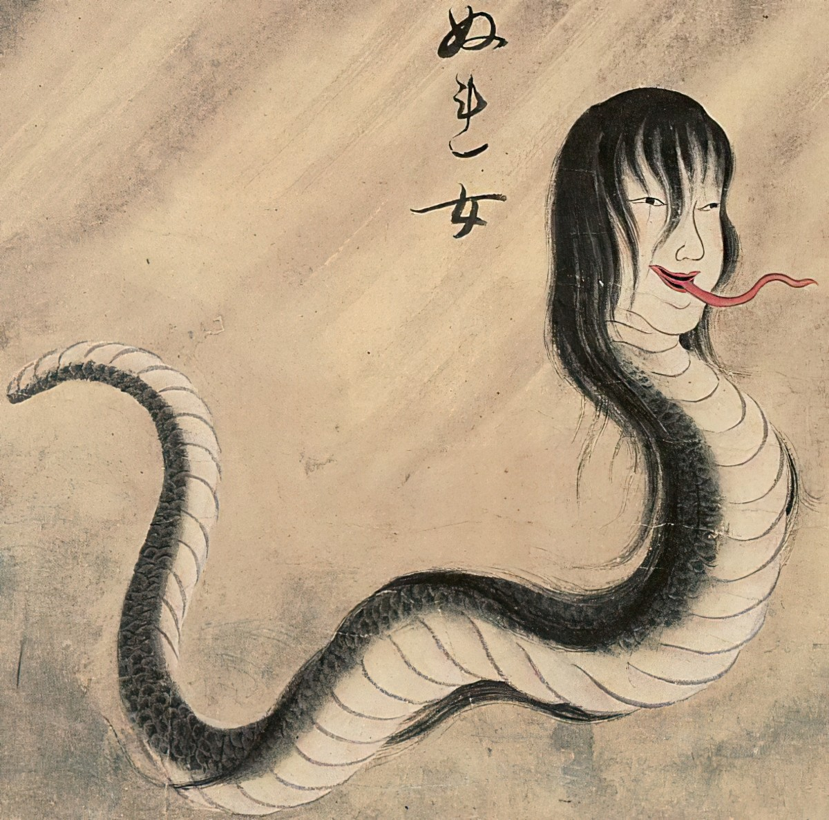 Classic Japanese depiction of a Nure-Onna.