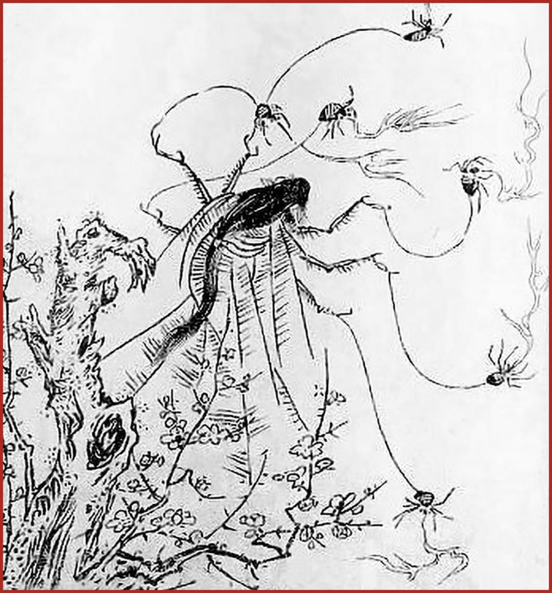 Classic illustration of a Jorōgumo by Edo Period artist, Toriyama Sekien.