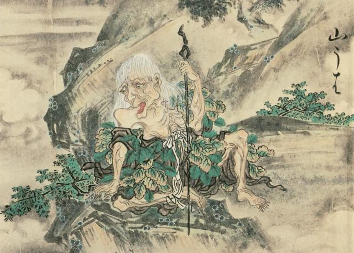 Classic depiction of a Yamauba by Edo Period artist, Sawaki Suuji.