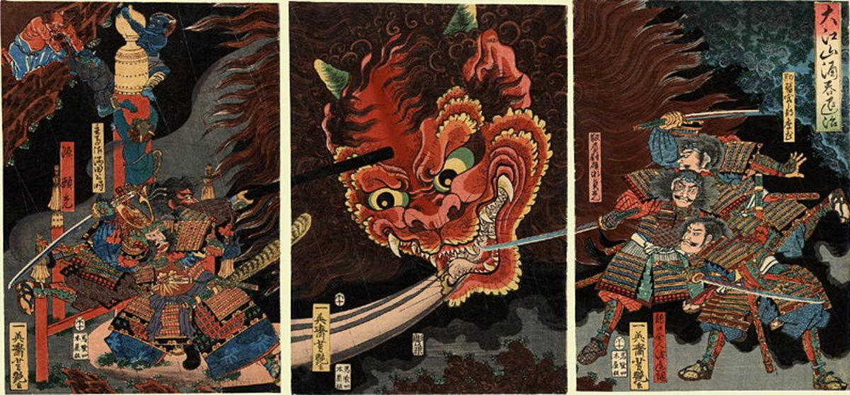 The slaying of Shuten Dōji by Yorimitsu and his retainers.