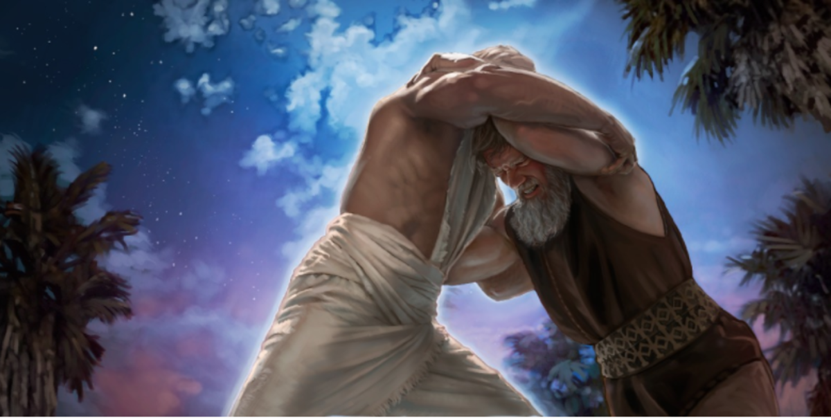 In Genisis 32:22-32, Jacob finds himself wrestling all night with a mysterious stranger whom he knows can bless him.