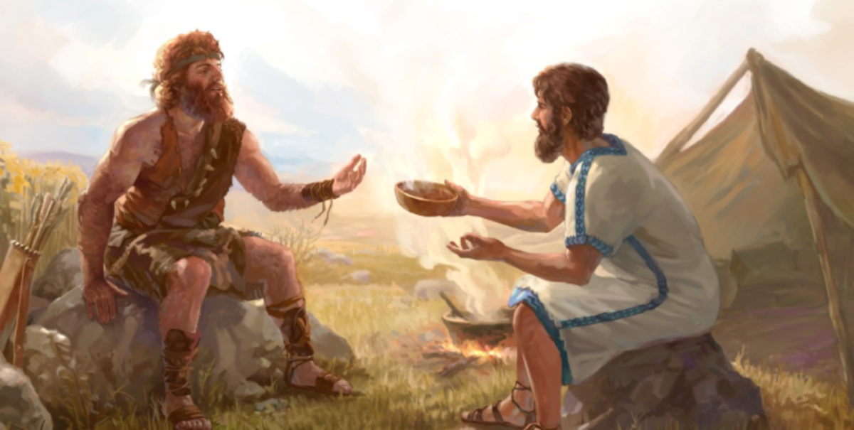 Esau is so hungry that he trades his inheritance for stew, bread, and something to drink.