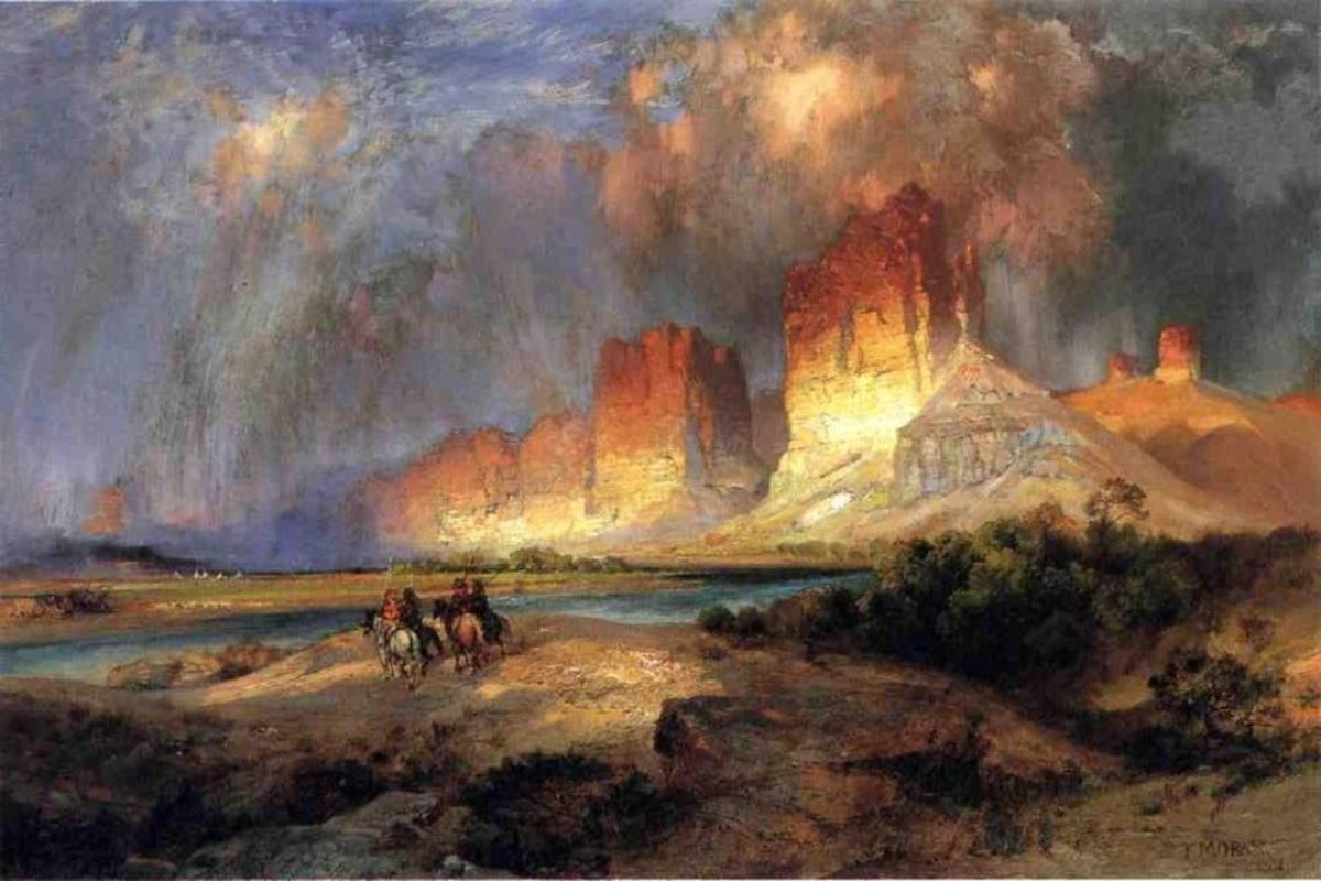 "Thomas Moran, ""Cliffs of the Upper Colorado River"""