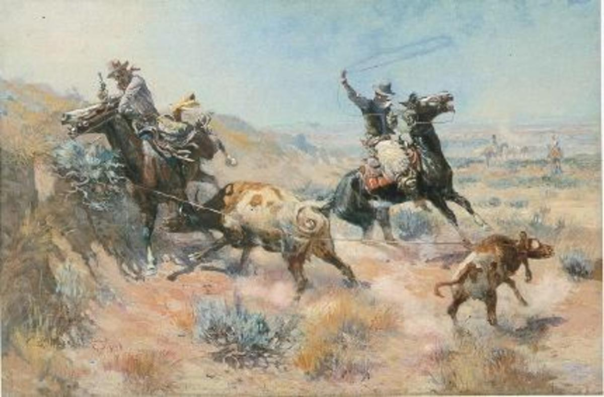 Russell's paintings are characterized by movement and have a dramatic quality. They usually feature men on horseback.