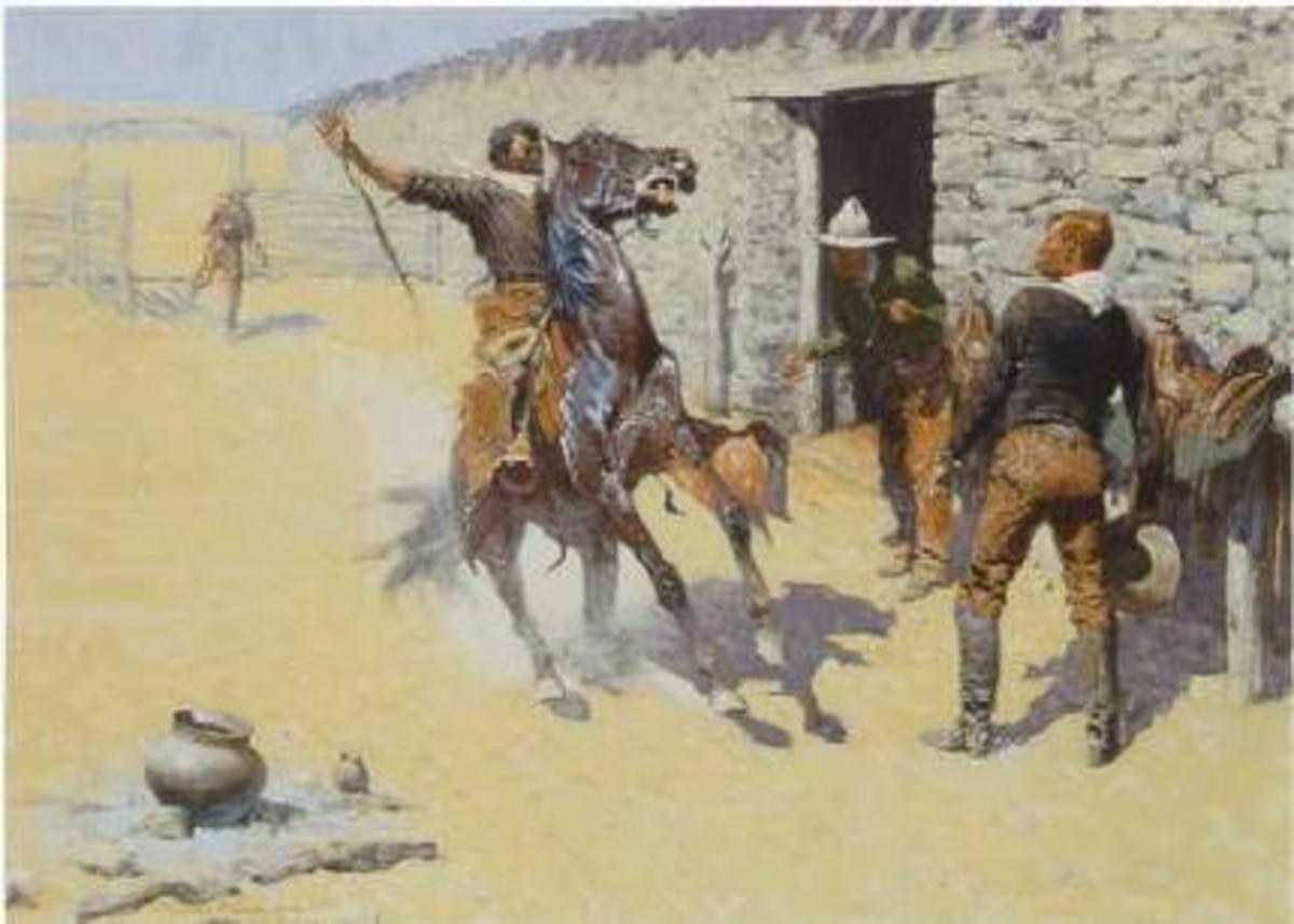 "Frederic Remington, ""The Apaches."" This painting shows Remington's flair for the dramatic. His paintings often tell a story."