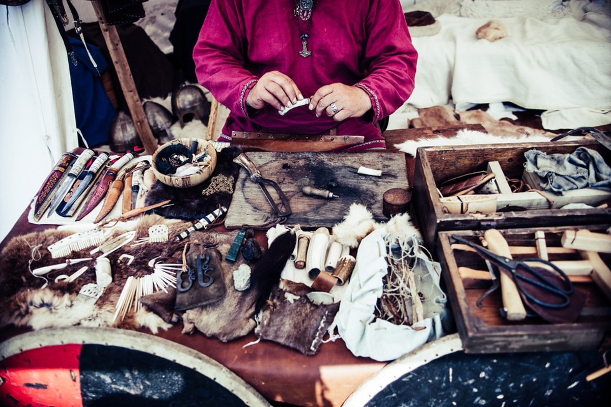 Native American leather crafting tools and materials used to make moccasins, shirts, breeches, and dresses.