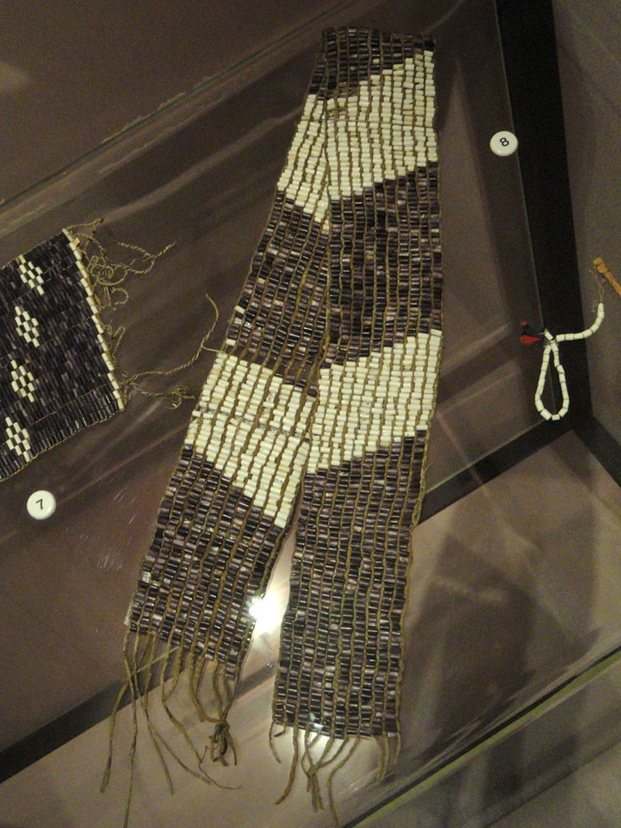 Wampum belt of one of the Six Nations, Iroquois peoples. Each nation used a different pattern.