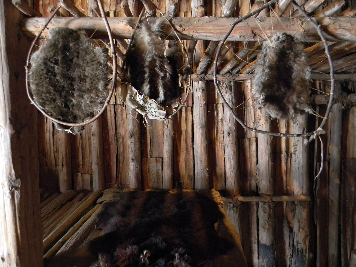 Dream catcher-like frames for curing pelts..