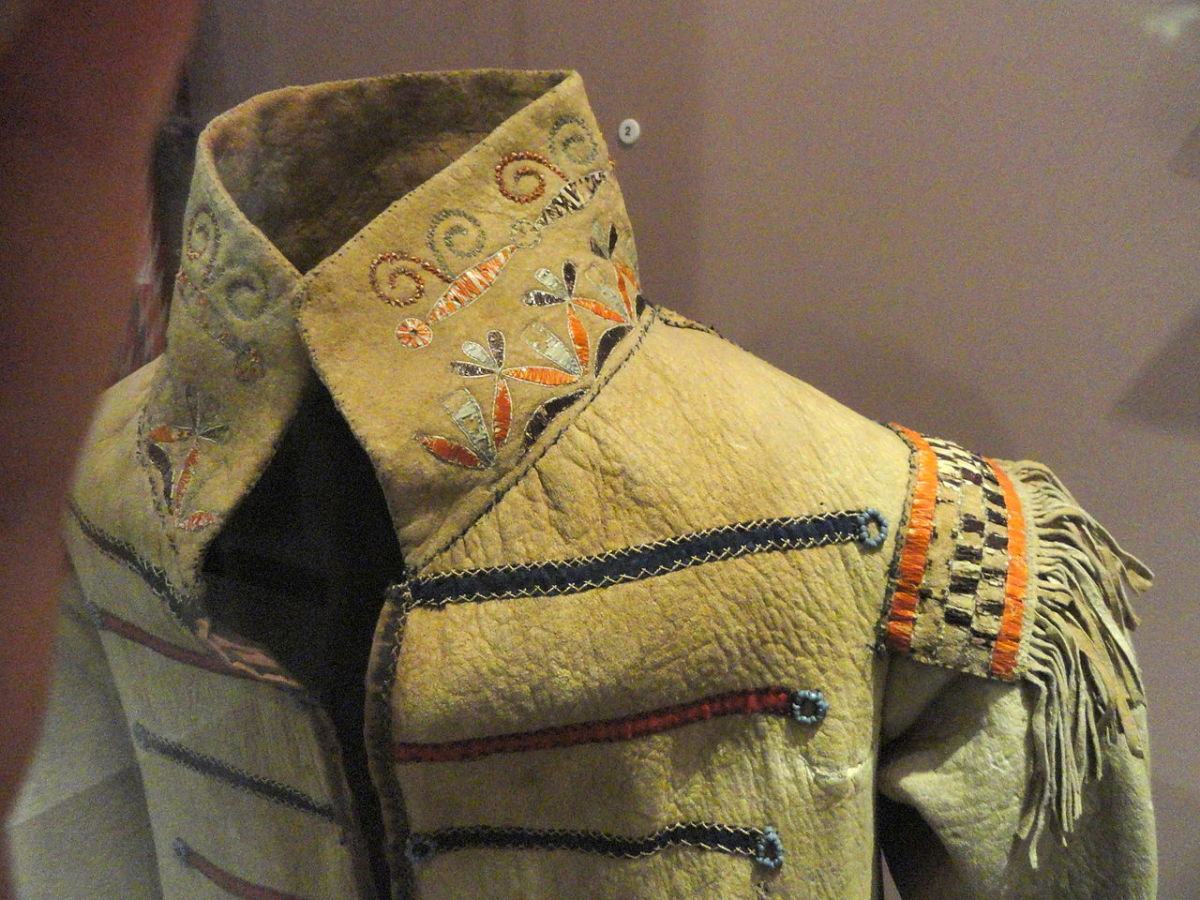Detail of a European-style man's deerskin suit, like some of those worn at weddings by the groom and guests. Notice the embroidery.