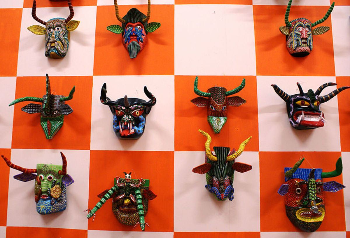 Artistic masks frighten away evil.