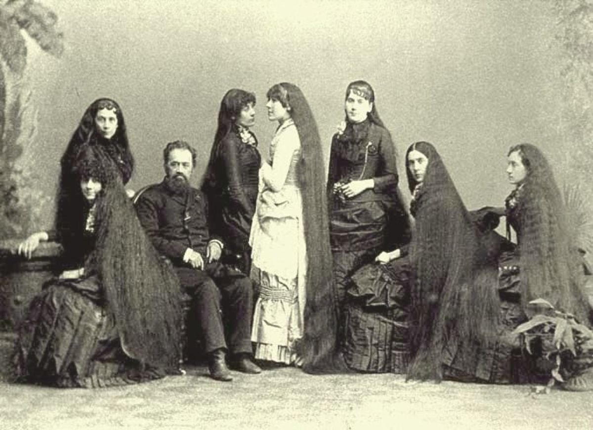 The Seven Sutherland Sisters, a group of singing ladies from Lockport/Niagara, N.Y., were famous for their long hair,