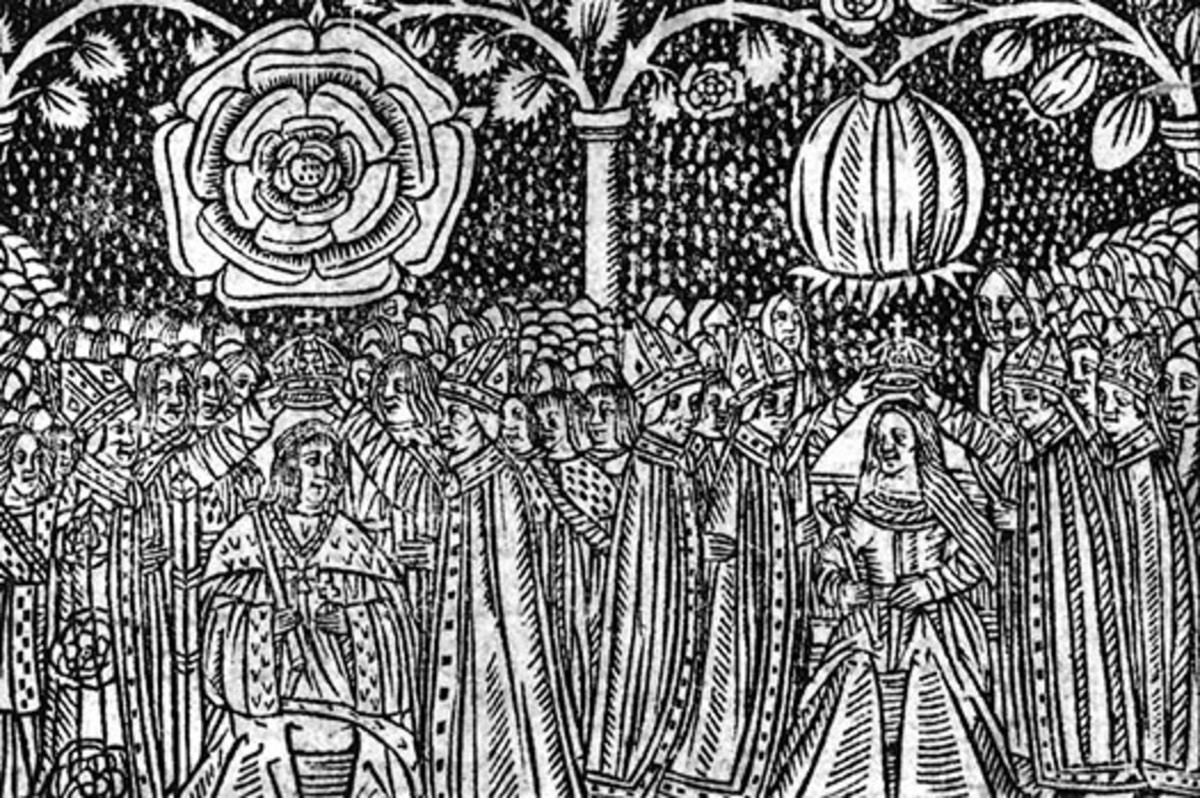 "Woodcut showing the coronation of Catherine of Aragon and Henry VIII, from Stephen Hawes, ""A Joyfull Medytacvon to All Englande"" published 1509"