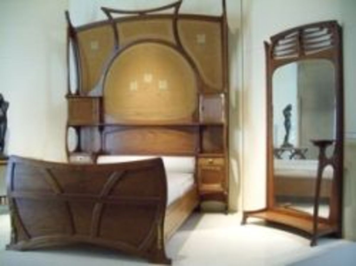 Bedroom furniture by Gustave Serrurier-Bovy, a leading Belgian architect and designer who lived from 1858 - 1910