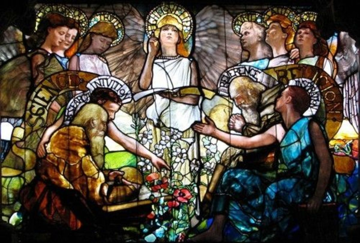 Part of Louis Comfort Tiffany's Stained Glass Window in Yale University called 'Education'