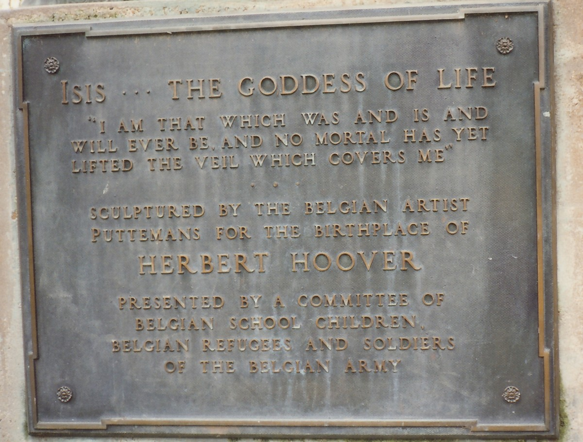 Plaque on statue in  West Branch, Iowa