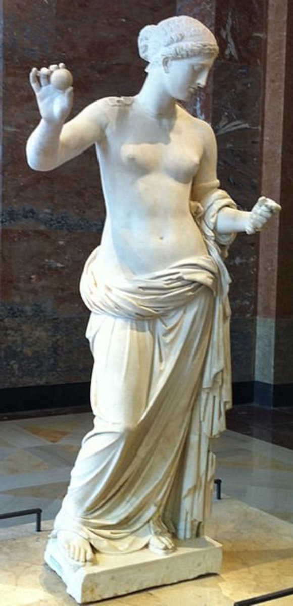 Aphrodite, the apple she is holding is the prize she won for beauty at the Judgement of Paris
