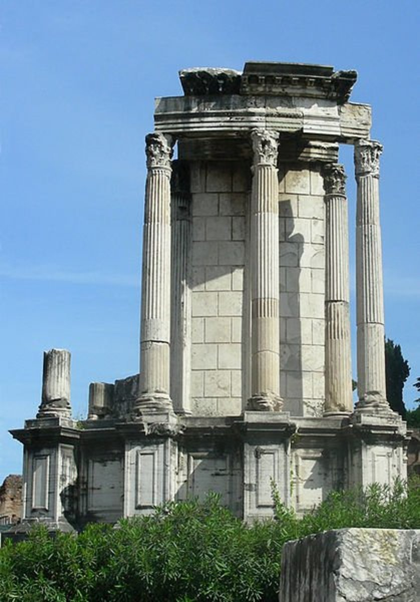 This is the reconstructed Temple of Vesta (Roman Hestia) in the Roman Forum. Vesta was a very important goddess to the Romans.