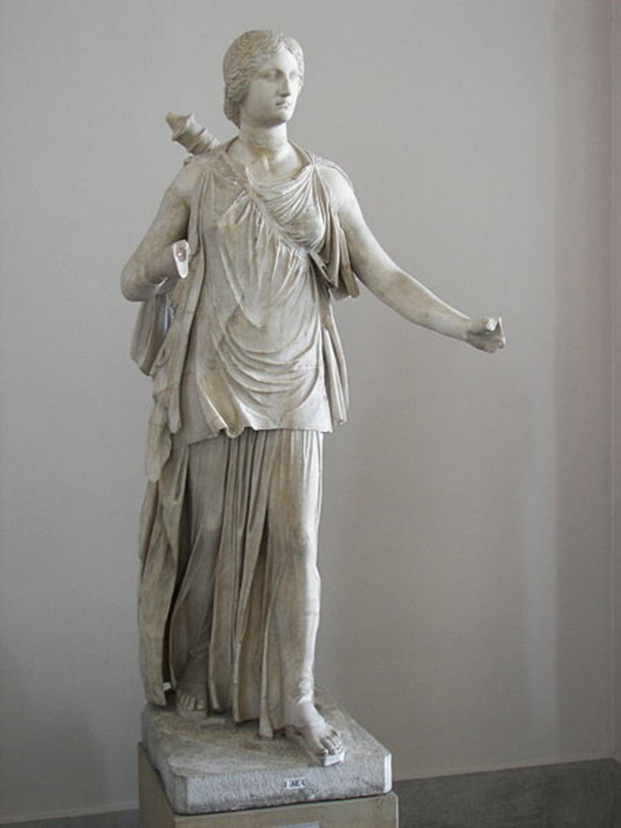 Artemis was the Goddess of the woodlands and carried a bow.