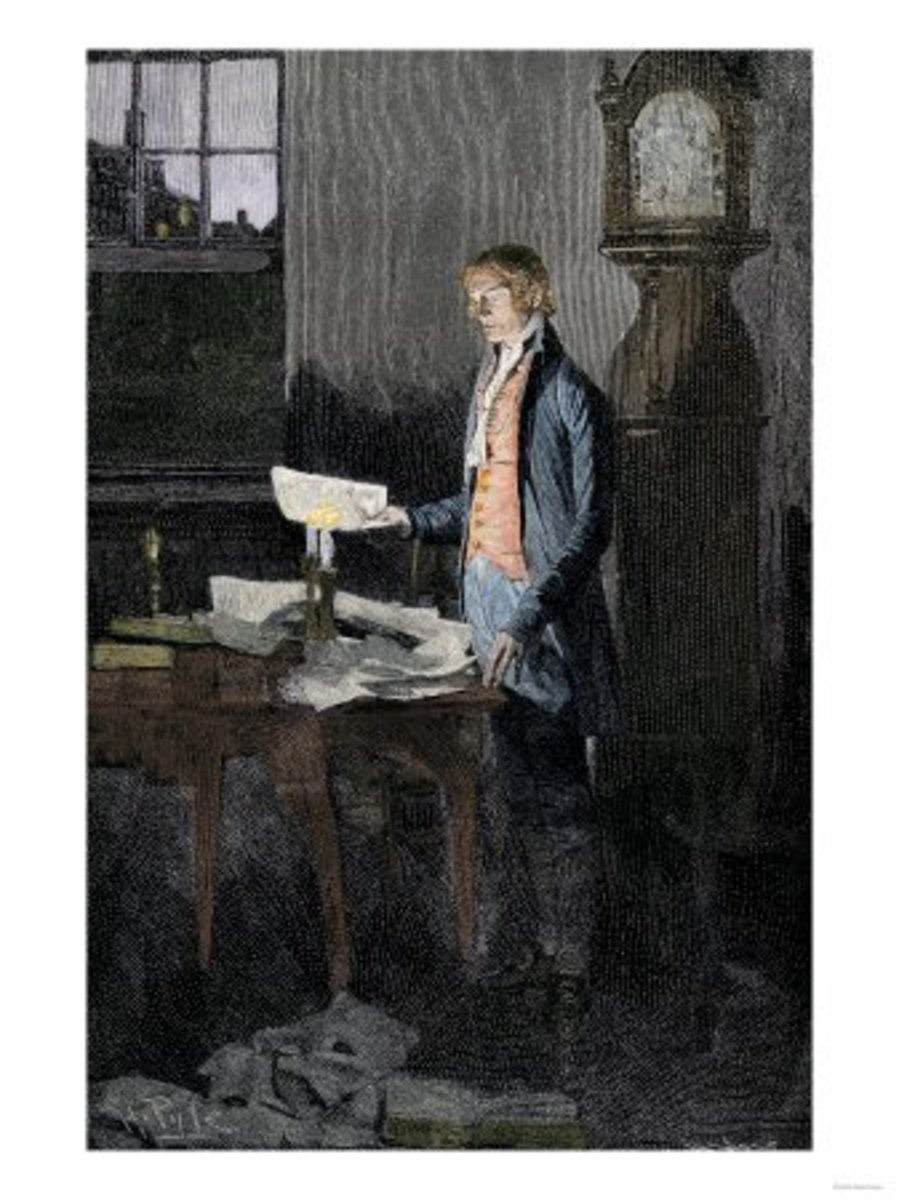 Artist rendition of Thomas Jefferson writing the Declaration of Independence