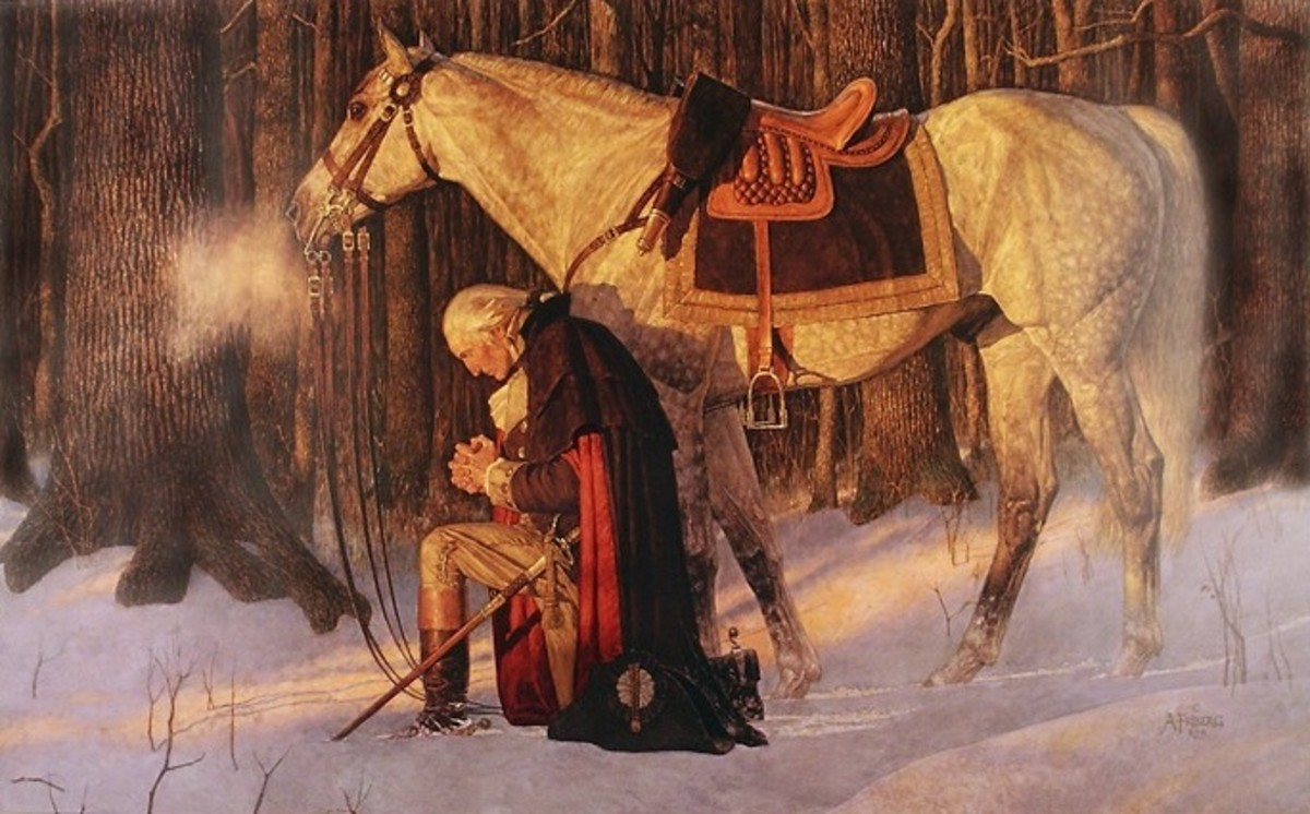 """GEORGE WASHINGTON """"PRAYER AT VALLEY FORGE"""" PAINTING BY ARNOLD FRIBERG"""