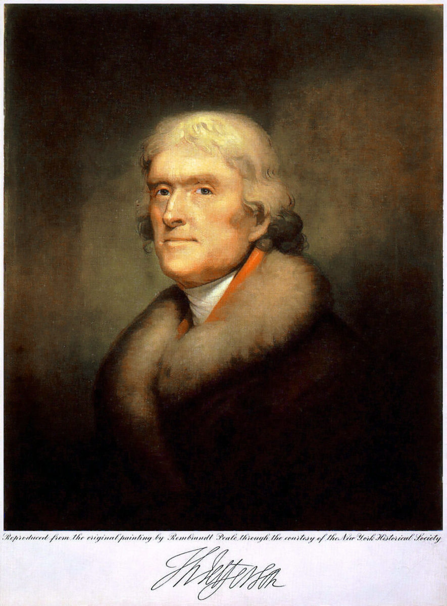 THOMAS JEFFERSON AS PAINTED BY REMBRANDT PEALE (1805)