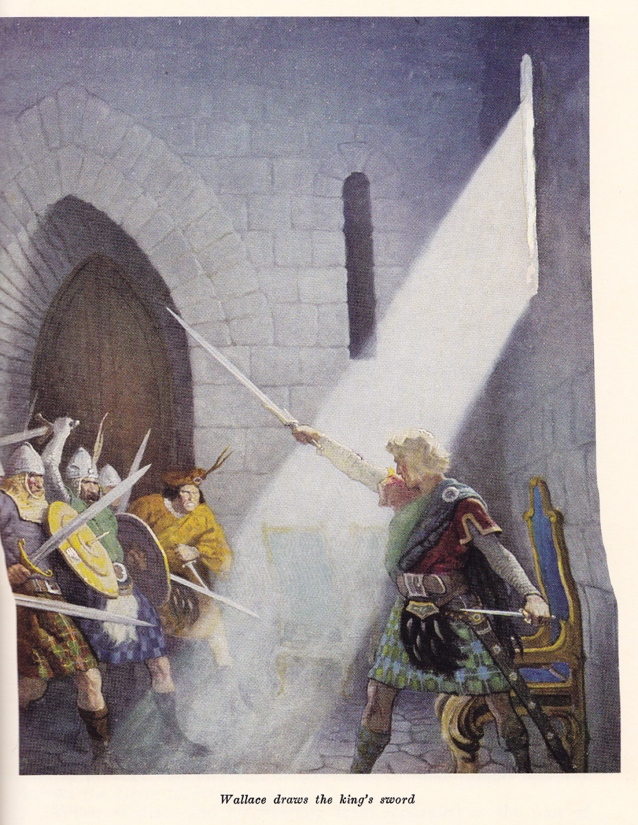 Wallace draws the king's sword in the throne room in N. C. Wyeth's painting.