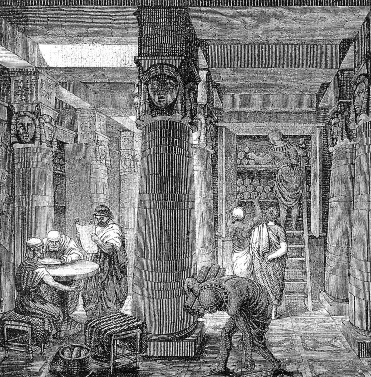 """Artistic rendering of the Library of Alexandria, based on some archaeological evidence. (""""The Great Library of Alexandria"""" by O. Von Corven)"""