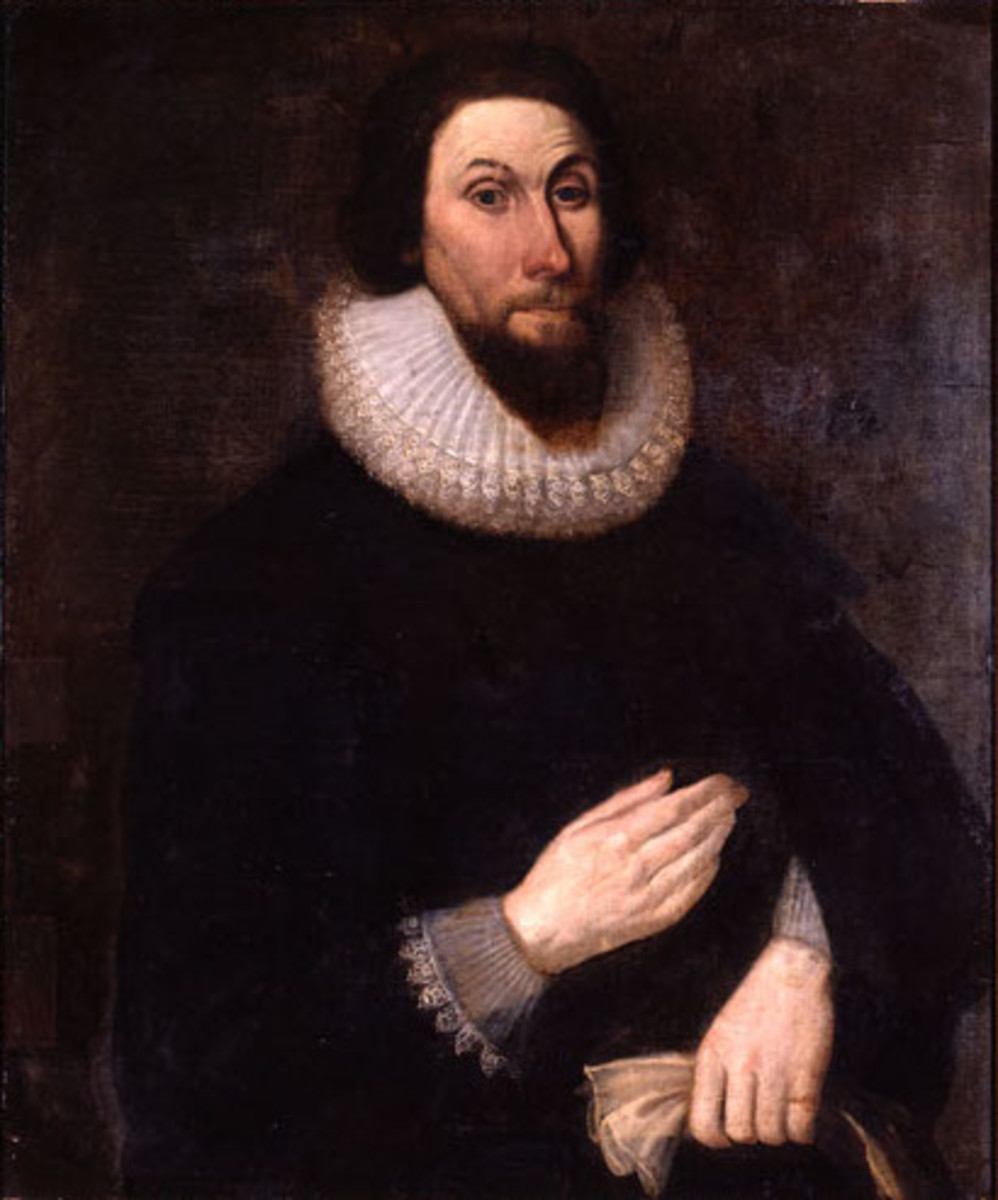 A 17th-century portrait of John Winthrop, one of the founding members of the first Puritan colony, the Massachusetts Bay Colony.