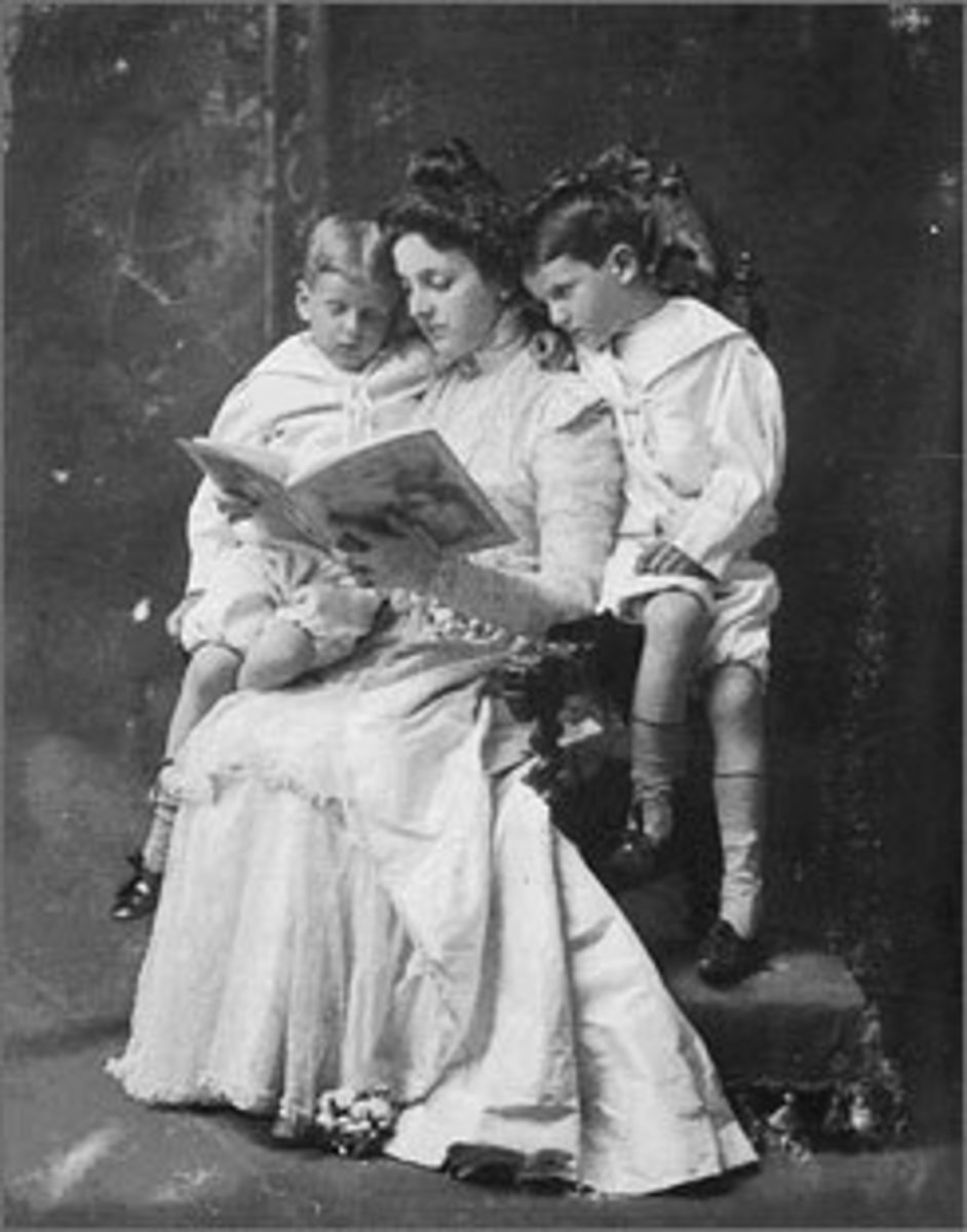 Emily reading to her sons c.1898.