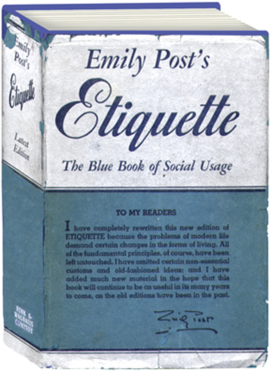 "1945 edition of ""Etiquette"". The book has never gone out of print."
