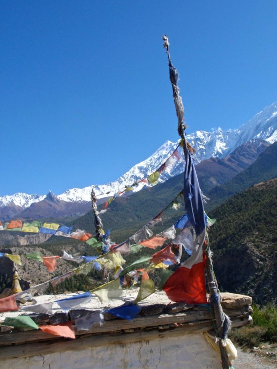 Prayer flags in the Annapurna region
