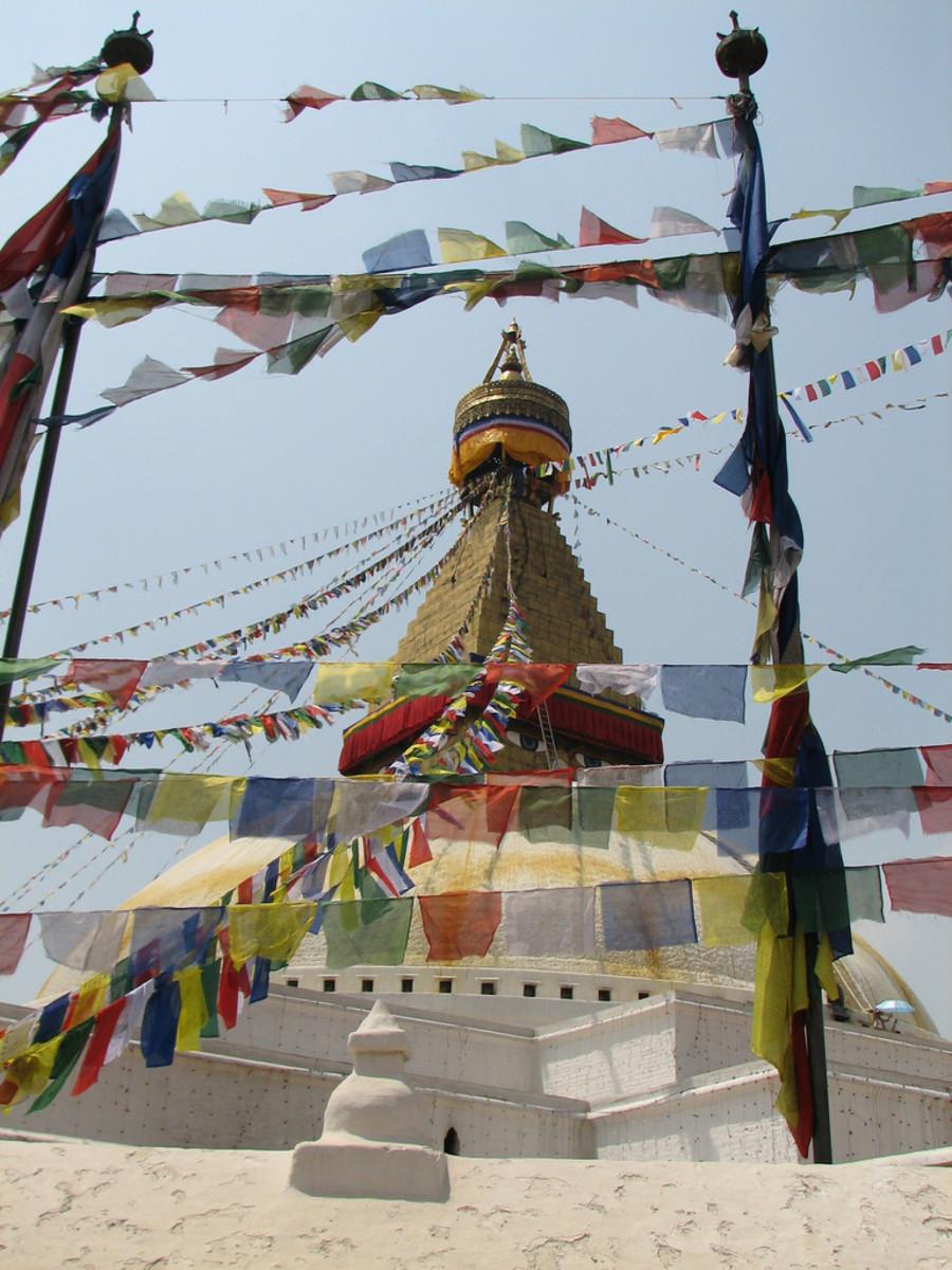 Lungta prayer flags at Boudhanath stupa in Kathmandu