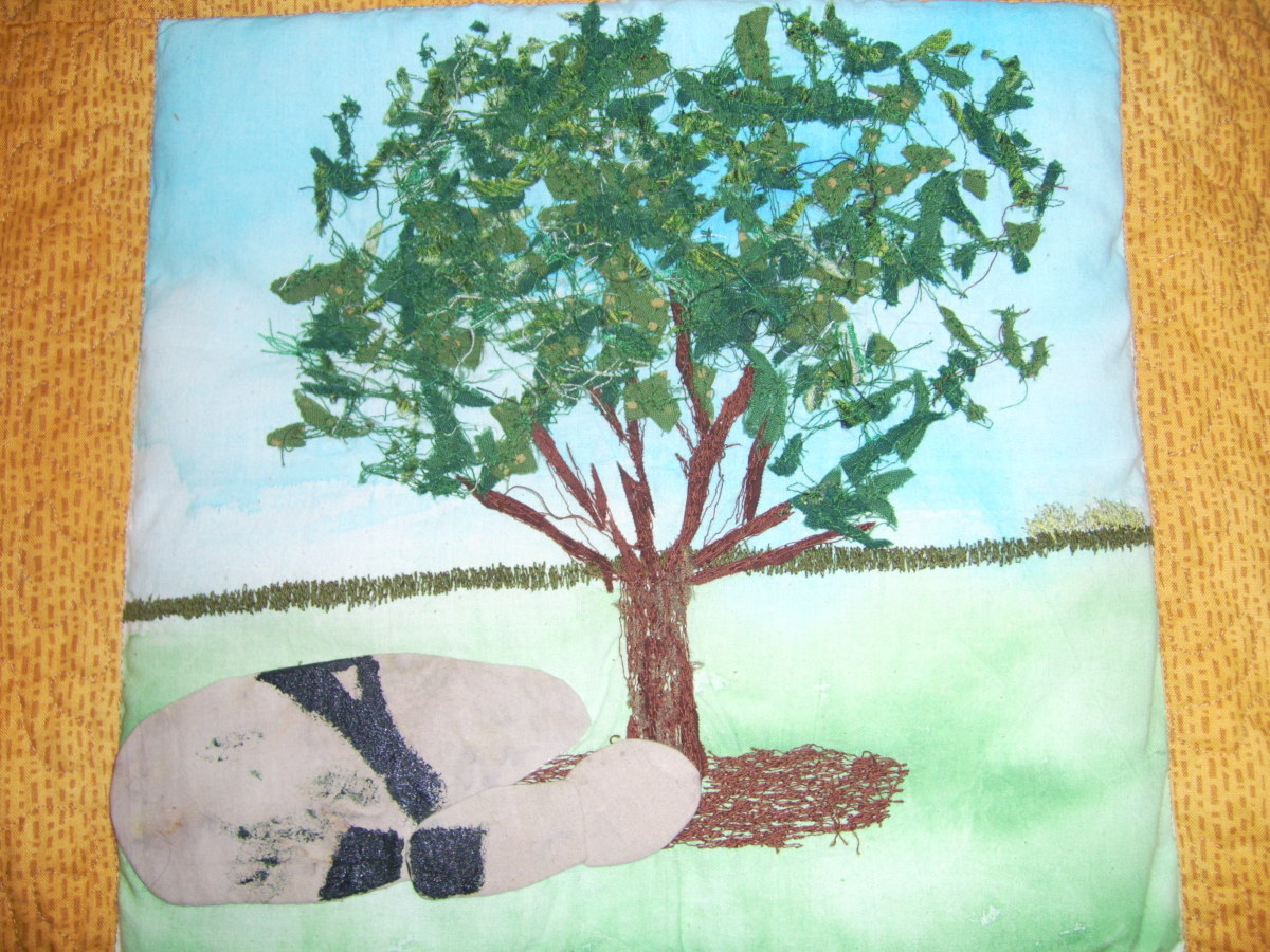 A textile depiction of 'Dracula's Grave'. The thorn tree still grows there today.