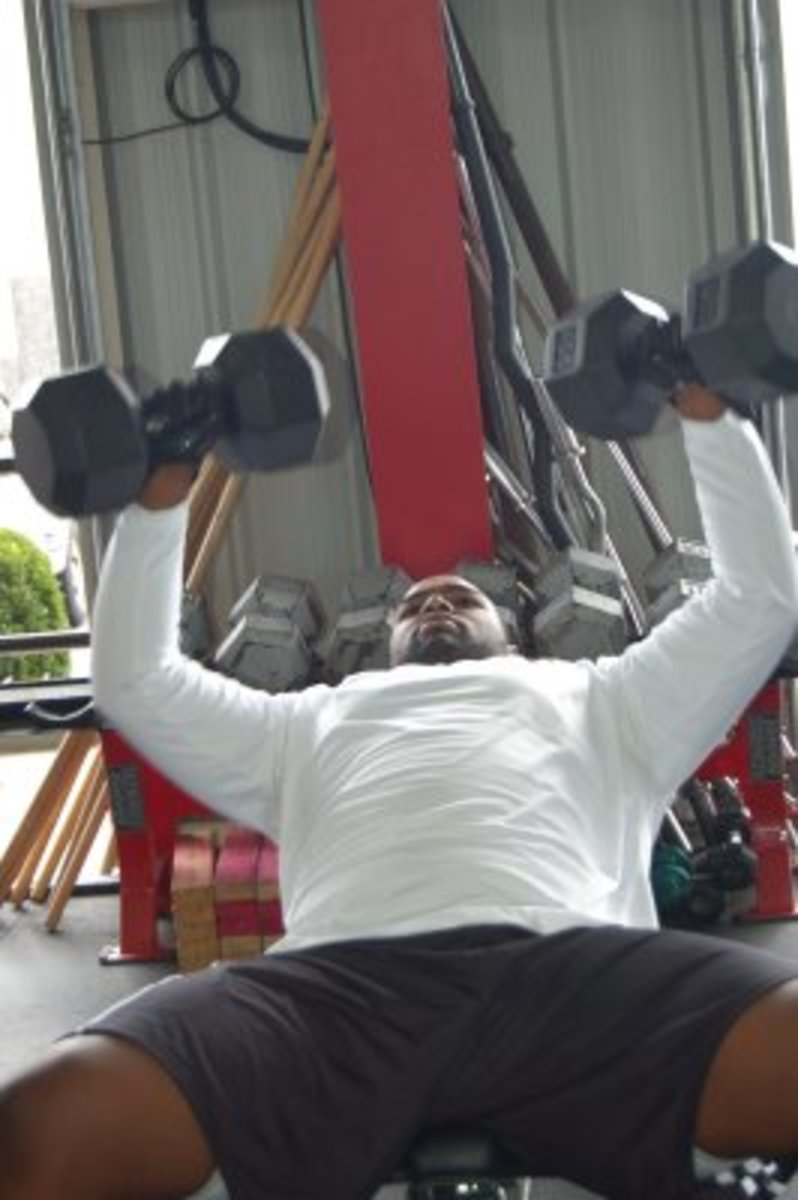 Michael gets ready for Pro Day in 2009.  He loves working out.
