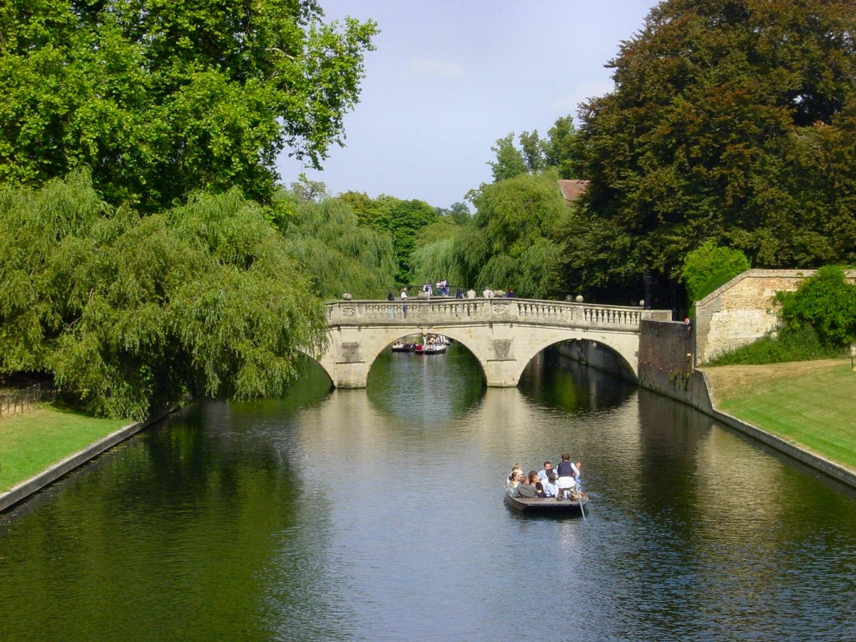 View of the River Cam and Clare Bridge, which is located by Clare College, Cambridge University; Philippa Pearce received a degree from this university and enjoyed playing by and on the river as a child