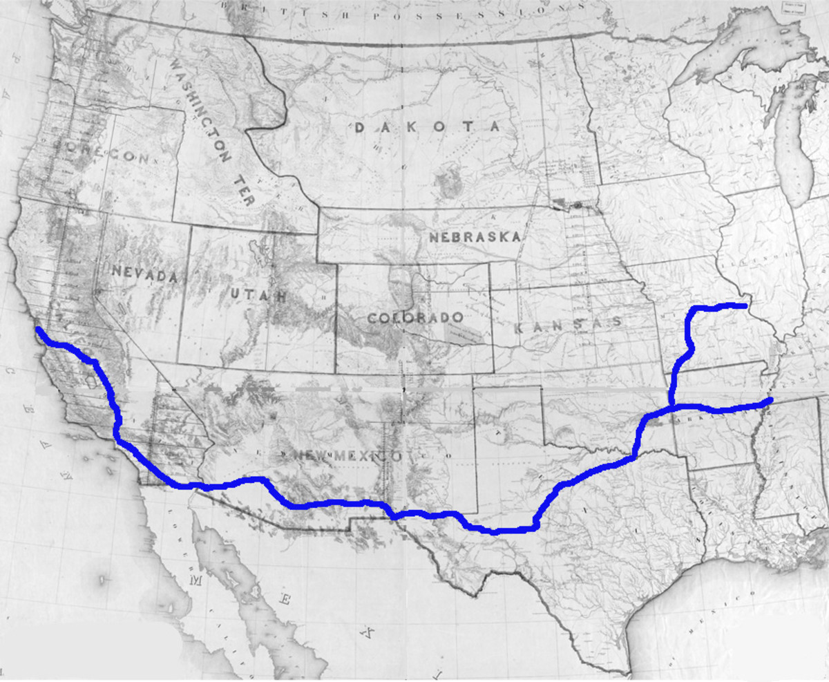 The Butterfield Overland Stage Route - St. Louis and Memphis to San Francisco, September 1858 to March 1861