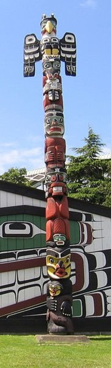 Crest Pole in front of the Mungo Martin Kwakiutl big-house, raised in 1953 at the Royal British Columbia Museum in Thunderbird Park.